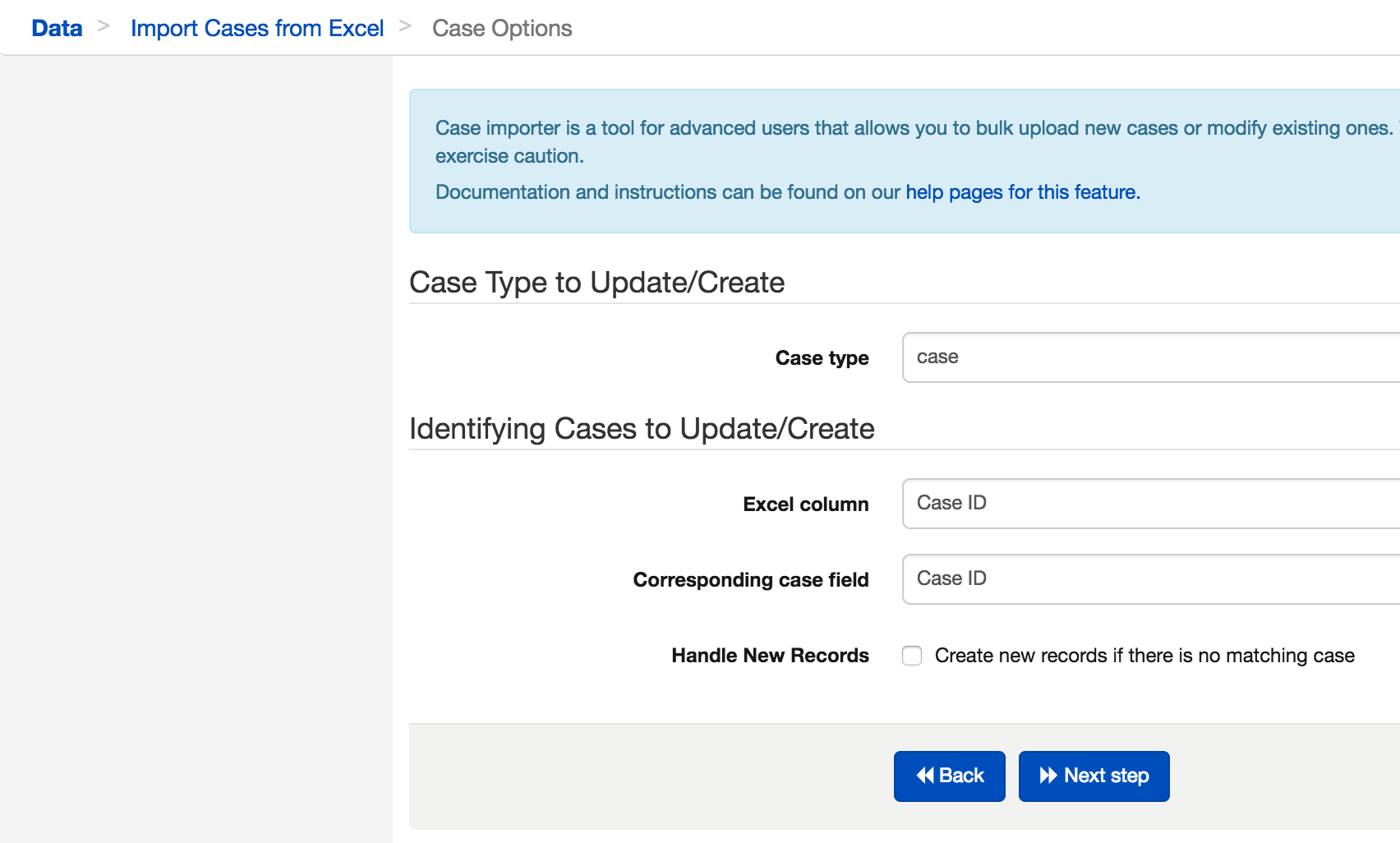 Updating Cases - 2  Select File to Import - CommCare Public