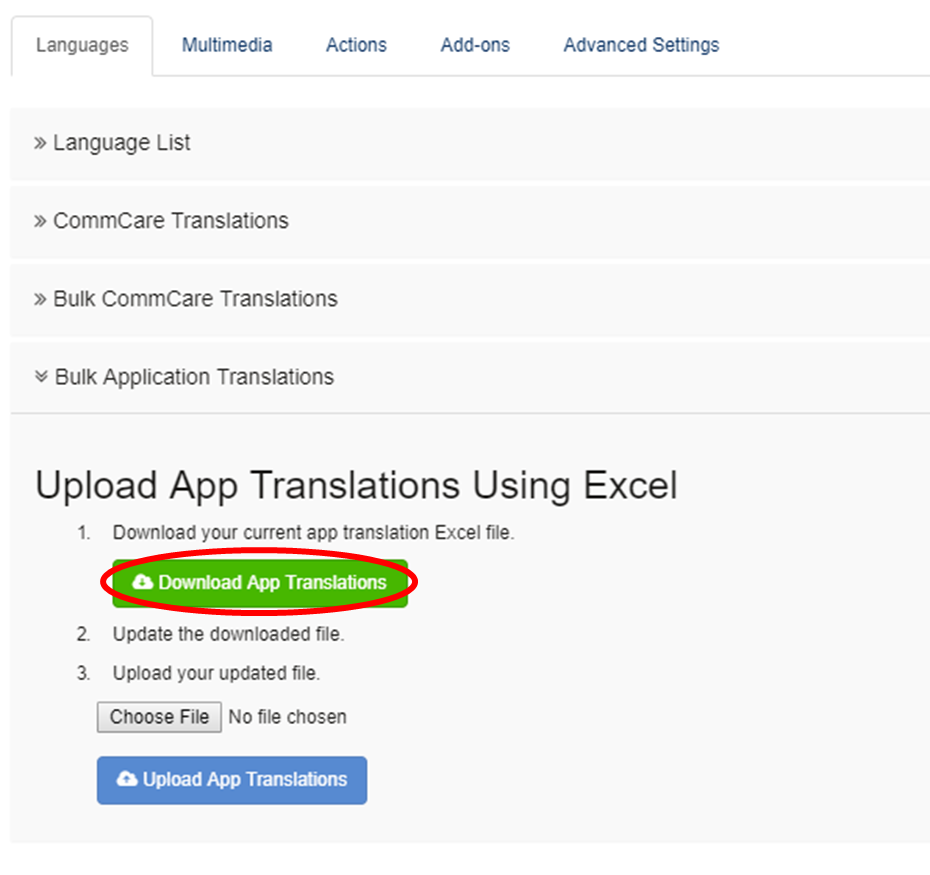 bulk application translations commcare public dimagi confluence